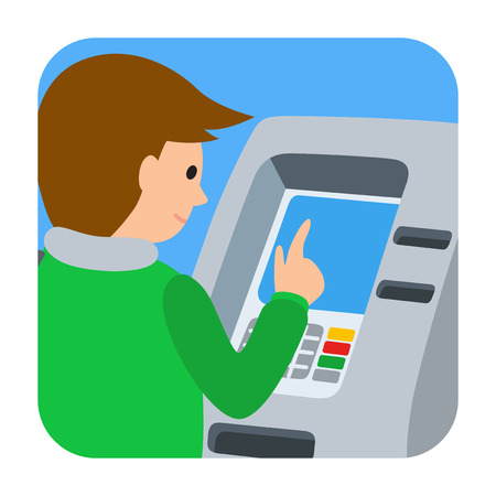 icone: Man using ATM machine. Vector illustration of people square icone isolated white background.