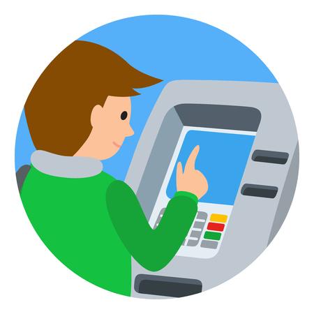 icone: Man using ATM machine. Vector illustration of people round icone isolated white background. Illustration