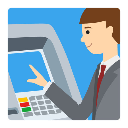 Homme d'affaires en utilisant un guichet automatique. Illustration vectorielle de l'homme carré icone isolé fond blanc. Banque d'images - 69151606