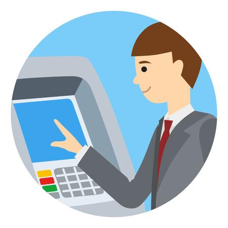 Homme d'affaires utilisant la machine ATM. Vector illustration de personnes rondes fond blanc isolé icone. Banque d'images - 69152421