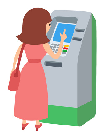 Woman using ATM machine. Vector illustration icone isolated white background.