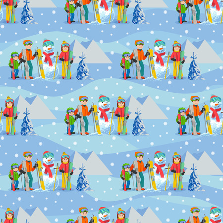 Vector illustration of seamless pattern with winter landscape happy family playing snowman, skiing, walking outdoor.