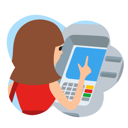 Woman using ATM machine. Vector illustration icone in cloud isolated white background. Illustration