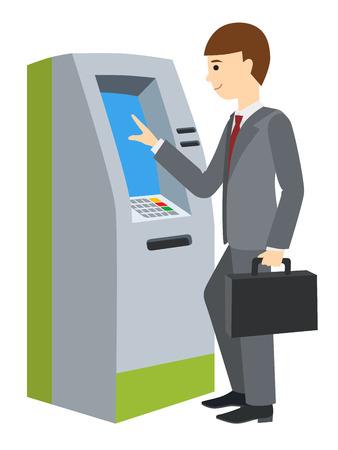Businessman using ATM machine. Vector illustration of people isolated white background. Illustration