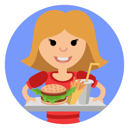 Young girl with fast food in his hands. Illustration