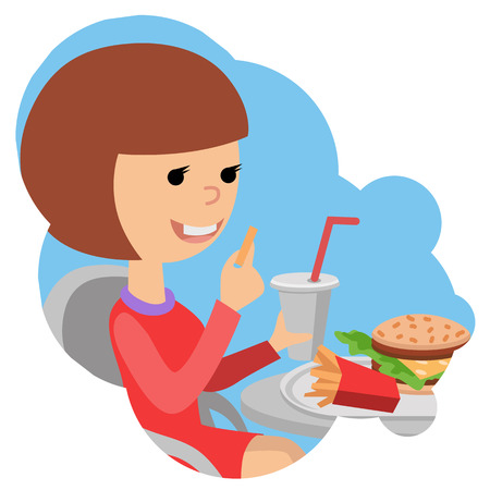 Girl with fast food in hands.