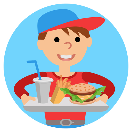 Boy carries a tray of food. Vector illustration isolated on white background.