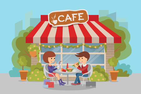 Girl and boy eating fast food. Vector illustration of a people at table with sandwiches drinks.