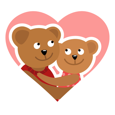 Couple of bears hugging. Vector illustration of Valentine s day congratulation card.
