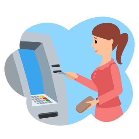 Woman using ATM machine. Vector illustration isolated white background. Stock Photo