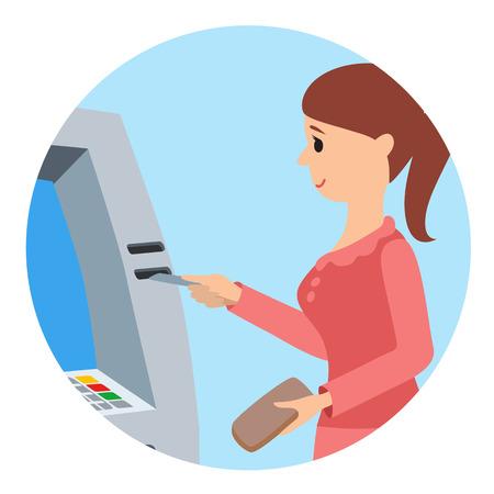 Woman using ATM machine. Vector illustration round icone isolated white background. Illustration