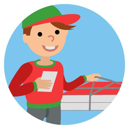 Pizza livraison homme en uniforme debout avec la boîte dans ses mains Banque d'images - 71840535