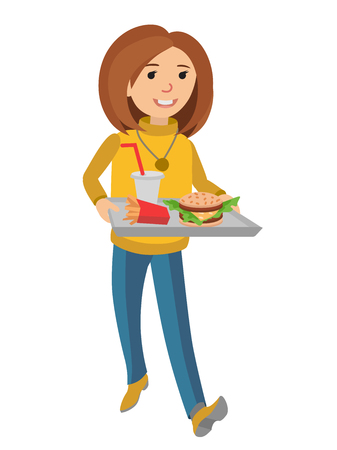 Woman with a tray of food in her hands. Illustration