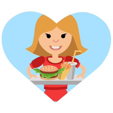 Girl with a tray of food in his hands. Illustration