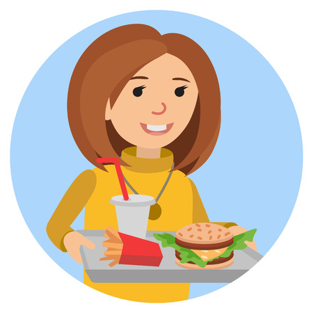 Fast food or restaurant. Woman with tray isolated on white background. Illustration