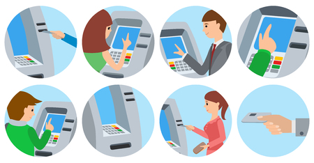 People using ATM machine. Vector illustration icons isolated white background.