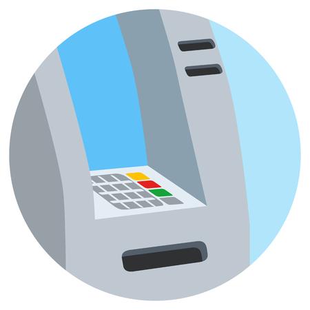 ATM bank on white isolated illustration. Illustration