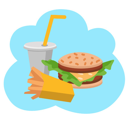 junkfood: Lunch french fries, burger and soda. Flat design. Vector illustration of fast food