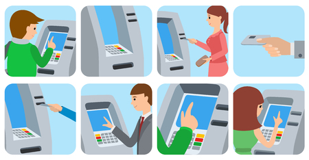 Personnes qui utilisent un distributeur automatique de billets. Vector illustration icônes isolé fond blanc. Banque d'images - 73087235