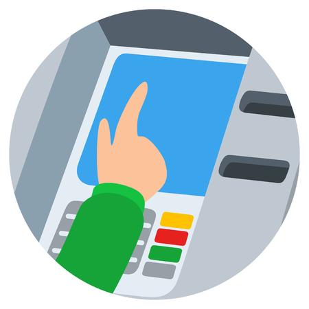 automatic transaction machine: Mano insertando la tarjeta de crédito en la ranura del cajero automático