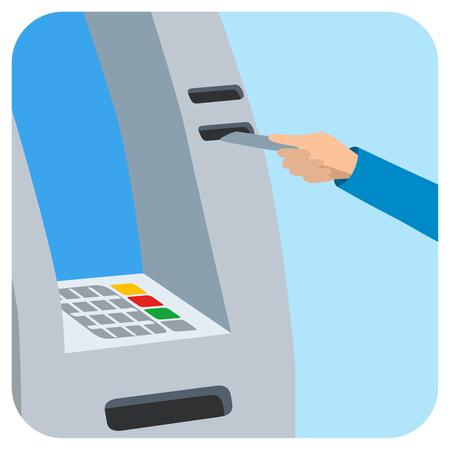 Insertion manuelle de carte de crédit dans la fente atm Banque d'images - 73325593