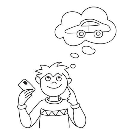 Illustration vectorielle de l'homme souriant tenant la carte de crédit et la planification des achats de mode. Vecteurs