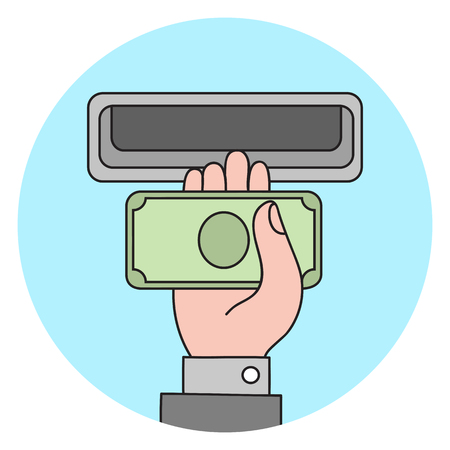Human hand with dollar banknote to a cash validator. Flat style vector icon.