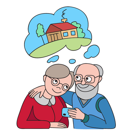 Senior couple with credit card dreaming about house. Banking concept illustration.
