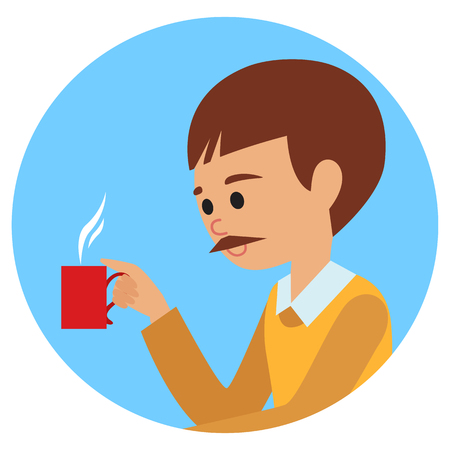 Man with cup in his hand drinking hot coffee. Vector illustration icon