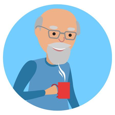 Man met beker in zijn hand drinken warme koffie. Vector illustratie icoon