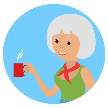 icone: Woman with cup in her hand drinking hot coffee. Vector illustration icon Illustration
