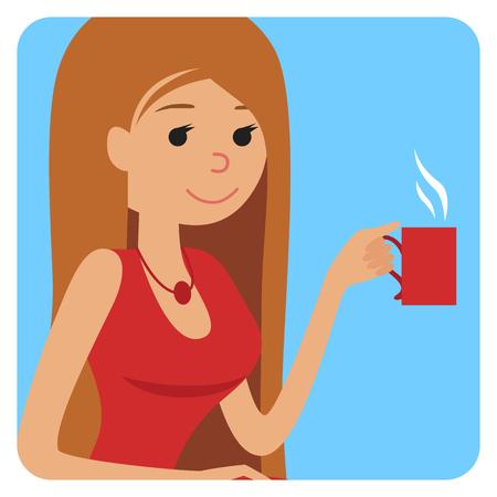Femme avec tasse dans sa main de boire du café chaud. Vector icône illustration
