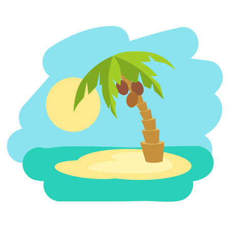 Tropical island with palm tree. Vector illustration icon in flat style.