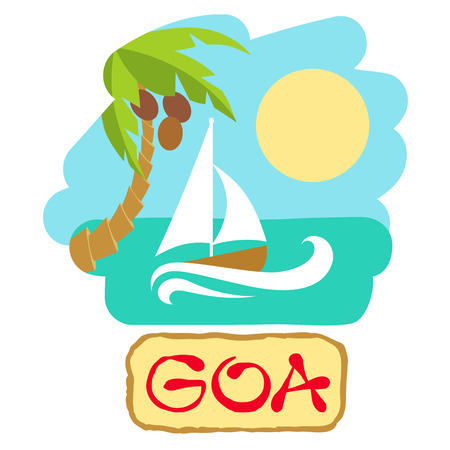 Tropical island with palm tree and boat. Vector illustration icon for traveling.