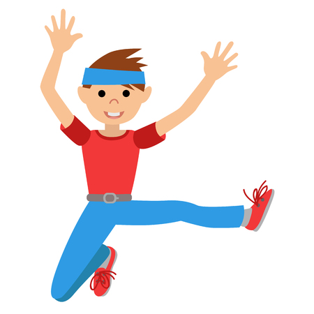 Boy dancing in class, vector illustration isolated Illustration
