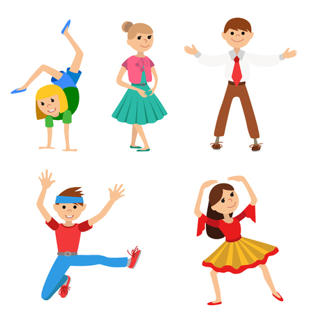 Children dancing in class, vector illustration isolated on whote background.