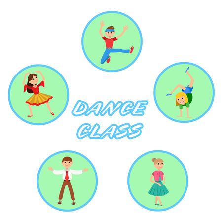icone: Children dancing round icons set vector illustration Illustration
