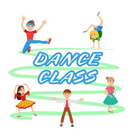 Children dancing round icons set vector illustration Illustration