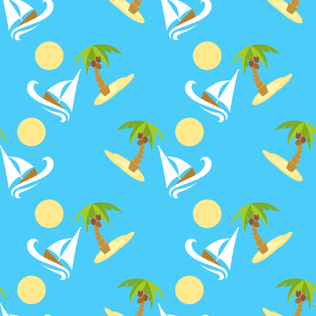 ongoing: Vector illustration seamless pattern for traveling. Tropical island with palm tree and boat Illustration