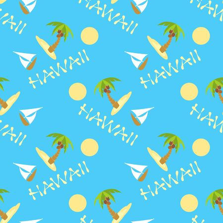 Tropical island with palm trees. Vector illustration seamless background with boat and palm. Hawaii inscription text.