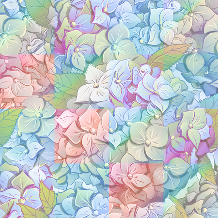 Inflorescence Hydrangea randomly arranged in seamless pattern, vector illustration in hand drawing style. Stock Photo