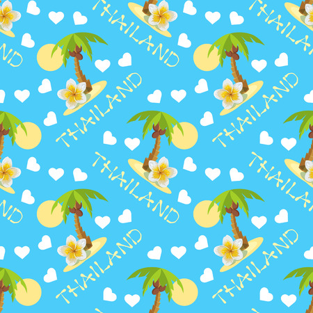 ongoing: A Coconut palm tree seamless background with thailand inscription. Illustration