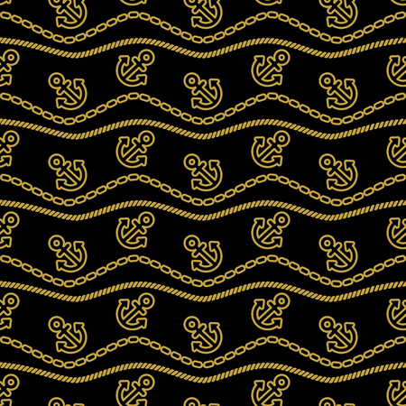 gold textured background: Seamless pattern with chains ropes and anchors. Ongoing stripes background of marine theme gold and black color.