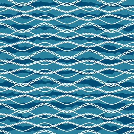 ongoing: Seamless vector pattern marine theme. Chains on stripes background