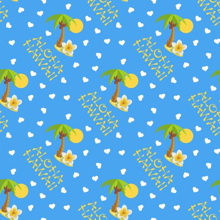 ongoing: Vector illustration seamless pattern. Tropical island with palm tree and lettering Aloha Hawaii .