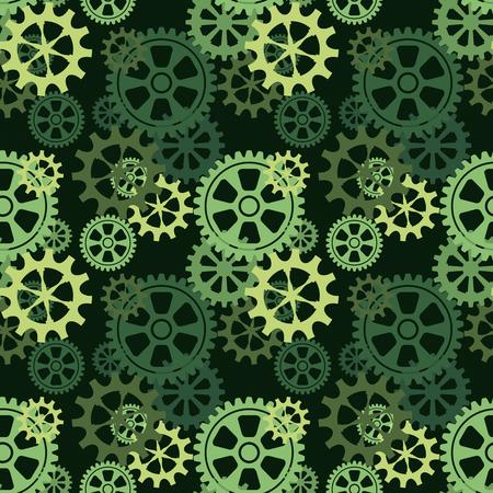 Groene naadloze achtergrond met versnellingen van de wielen. Vector illustratie.