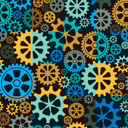 ongoing: Seamless background of gear wheels. Vector illustration. Illustration
