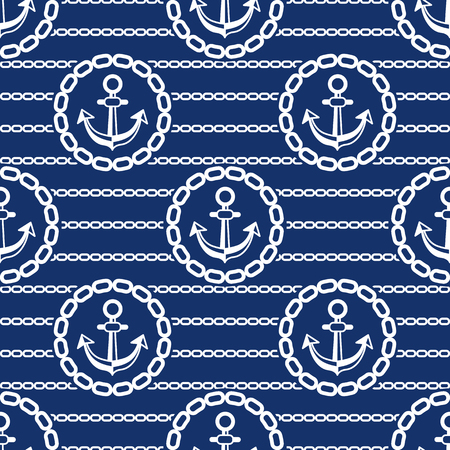 ongoing: Seamless pattern with anchors and chains. Ongoing stripes background of marine theme blue color. Vector illustration
