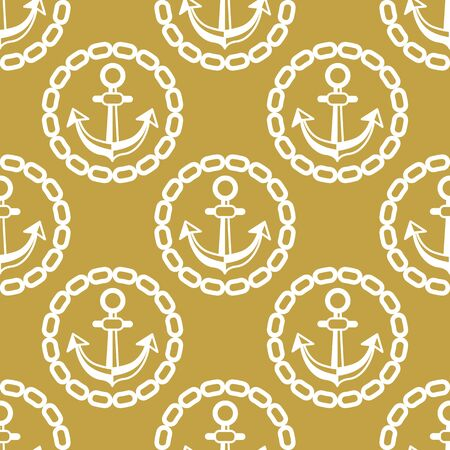 ship anchor: Seamless pattern with anchors and chains. Ongoing stripes background of marine theme golden color. Illustration