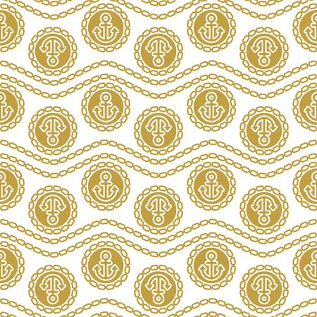 gold textured background: Seamless pattern with anchors and chains. Ongoing stripes background of marine theme blue color.